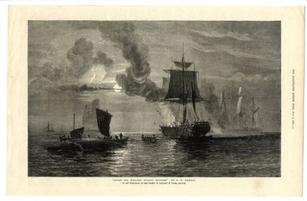 1876 Print SOUTH SEA WHALING SHIPS Boiling Blubber Whaler Antique SOLD
